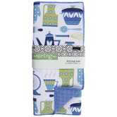 White & Blue Kitchen Items Drying Mat