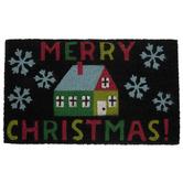 Merry Christmas & Snowflakes Doormat