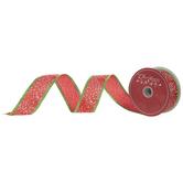 """Christmas Paint Splatter Wired Edge Ribbon - 1 1/2"""""""