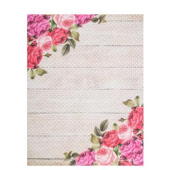 """Floral Wood Scrapbook Paper - 8 1/2"""" x 11"""""""