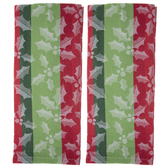 Red & Green Striped Holly Kitchen Towels
