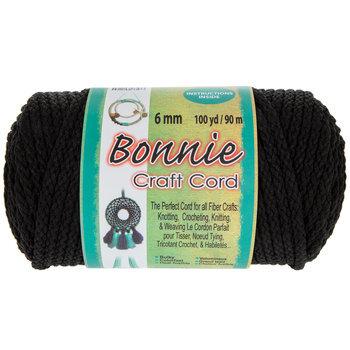 Black Bonnie Braided Macrame Craft Cord - 6mm