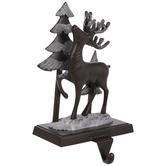 Deer & Trees Glitter Metal Stocking Holder