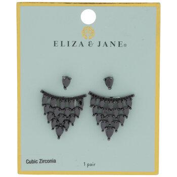 Black Cubic Zirconia Teardrop Jacket Earrings
