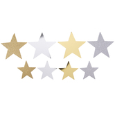 Silver & Gold Glitter & Metallic Star Stickers