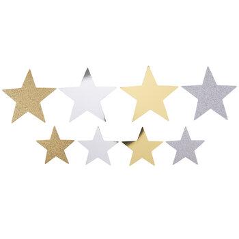Silver & Gold Glitter & Metallic Star Stickers