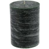 "Sugared Spruce Distressed Pillar Candle - 3"" x 4"""