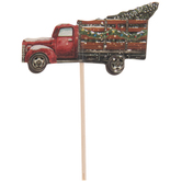 Red Christmas Tree Truck Cupcake Toppers