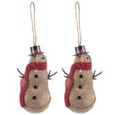 Burlap Snowman With Hat Ornaments