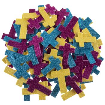 Glitter Cross Foam Stickers
