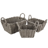 Gray Woven Rectangle Basket Set