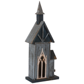 Blue Cathedral Wood Birdhouse