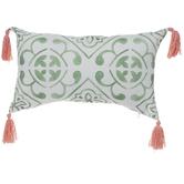 Green Tile Print Pillow