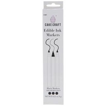Black Edible Ink Markers - 3 Piece Set