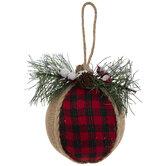 Burlap & Buffalo Check Ball Ornaments