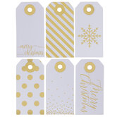 White & Gold Merry Christmas Gift Tags