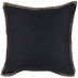 Black Woven Pillow With Jute Trim
