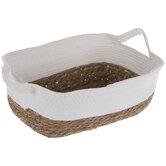 White & Brown Woven Rectangle Basket