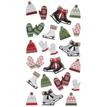 Mittens, Hats & Skates Puffy Stickers