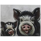 Black & White Pigs Wood Wall Decor