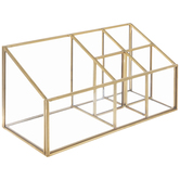Gold Trimmed Glass Desk Organizer