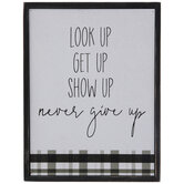 Never Give Up Plaid Wood Decor