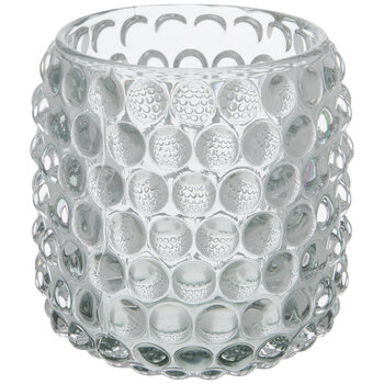 Light Gray Bubbled Glass Candle Holder