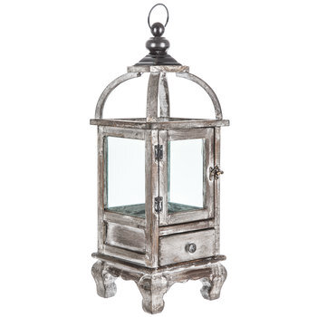 Whitewash Wood Lantern With Drawer