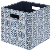 Blue Floral Medallion Cube Storage Container