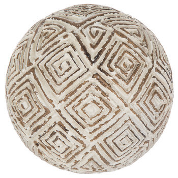 White & Tan Squares Decorative Sphere