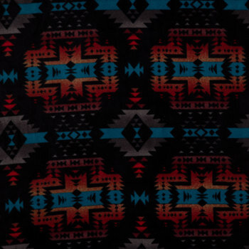 Black Geometric Canyon Anti-Pill Fleece Fabric