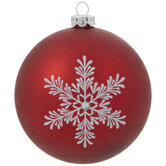 Red Snowflake Ball Ornaments