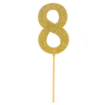 Gold Glitter Number Cake Topper - 8