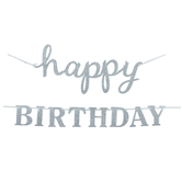 Silver Glitter Happy Birthday Banner