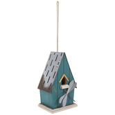 Teal Wood Birdhouse With Dragonfly