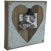 "Heart Galvanized Metal Clip Frame - 5"" x 3 1/2"""