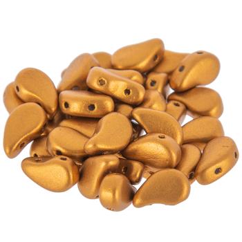 Bronze Gold Paisley Duo Czech Glass Beads - 5mm x 8mm