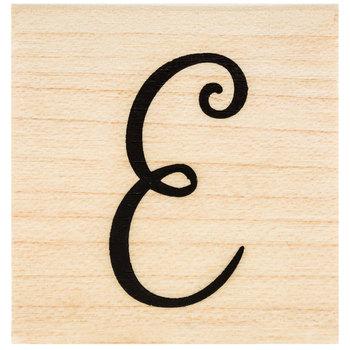 Script Letter Rubber Stamp - E