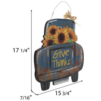 Give Thanks Truck Wood Wall Decor