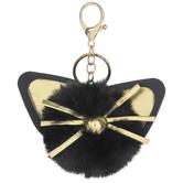 Black Fuzzy Pom Pom Cat Keychain