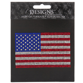 American Flag Rhinestone Iron-On Applique