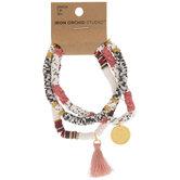 White, Black & Pink Beaded Bracelets