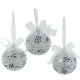 Silver Joy, Peace & Noel Bell Ornaments
