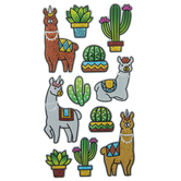 Llamas & Succulents Metallic Puffy Stickers