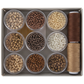 Mahogany Mix Glass Seed Beads & Thread