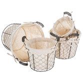 Round Chicken Wire Baskets With Liners Set