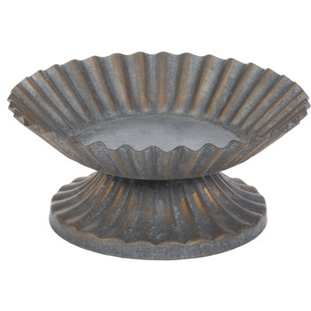 Fluted Galvanized Metal Candle Holder