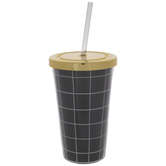 Black & White Checkered Cup With Straw