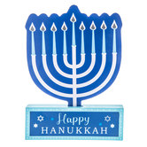 Happy Hanukkah Menorah Wood Decor