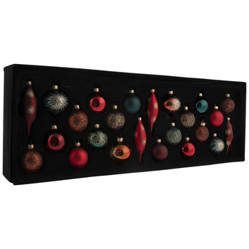 Burgundy, Green & Red Ball, Onion & Drop Ornaments